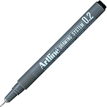 Artline Drawing System 6-piece 0.1 to 0.5 and 0.8 NEW Black water resistant ink