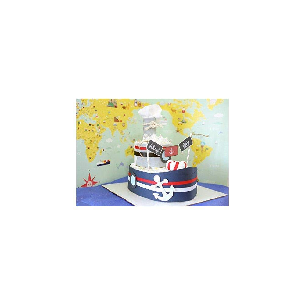 Amazon.com: Nautical Barco pañal para tarta de Baby Boy/bebé ...