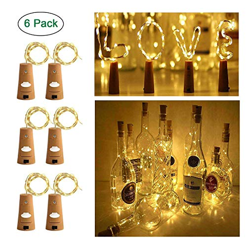 Ecloud Shop Wine Bottle Lights with Cork, Cork Lights for Bottle 6.5ft 20 LED Lights Battery Powered String Lights for Party Halloween Wedding Festival(Warm White,Silver Wire,Pack of 6)
