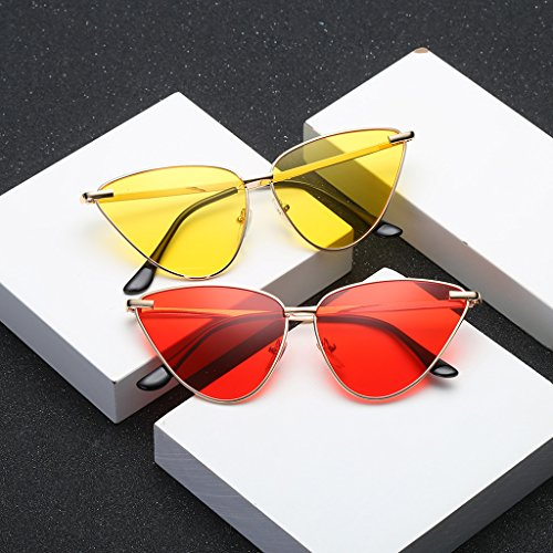 6 JAGENIE Moda de 2 Sol Mujer Marca Designer Tonos Ojo Metal Gafas UV400 Marco Gafas Gato Vintage Gafas gqaxg1F