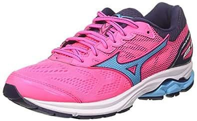 Mizuno Women's Wave Rider Shoes, Pink Glo/Aquarius/Graystone, 10 US