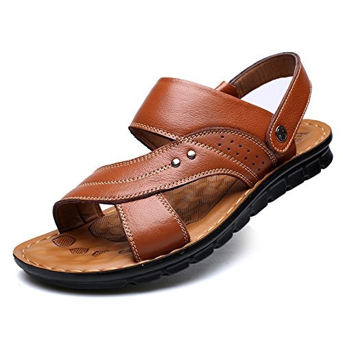 Anti Size Sunny Brown Skid Men's 9MUS Sandals amp;Baby Color Leather Brown aqnA8Iwq
