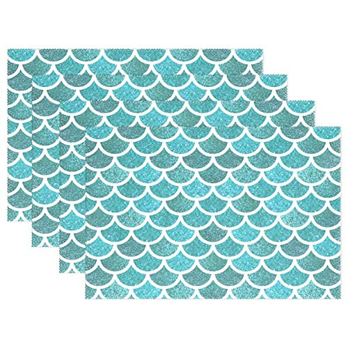 Mermaid Scale Placemats Table Mats Placemat Set of 4, Green Fish Tail Non Slip Washable Place Mats 12x18 inch Heat Resistant Kitchen Tablemats for Kids Dining Room Dinner Party Home Decor