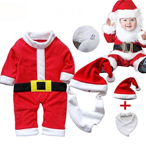 [Fineshow Kids Baby Boys Girls Xmas Series Santa Claus Costume Suit+Hat+Bib (90)] (Infant Racing Halloween Costume)