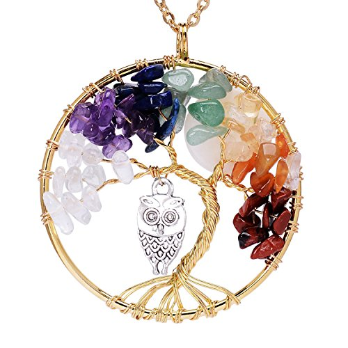 Viola Tricolor Gold Plated Tree of Life Birthstone Chakra Necklace With Owl Full Moon Tree of Life for Women 7 Chakra Gemstones Tree of Life Pendant Wire Wrapped Necklace (Gold Wire Wrapped Pendant)