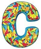 iscream Lettermania C Initial 16'' Gummy Worms Print Fleece Back Microbead Pillow
