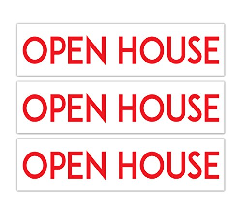 (BEST Aluminum Real Estate Rider Signs | Double Sided and Durable | (Set of 3: OPEN HOUSE))
