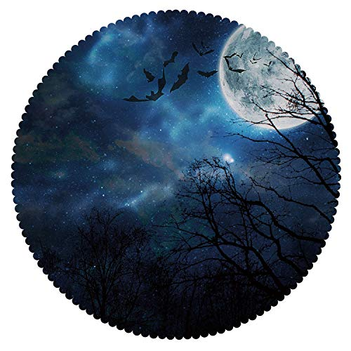 iPrint Round Tablecloth [ Halloween,Bats Flying in Majestic Night Sky Moon Nebula Mystery Leafless Trees Forest Decorative,Blue Black White ] Decorative Ideas