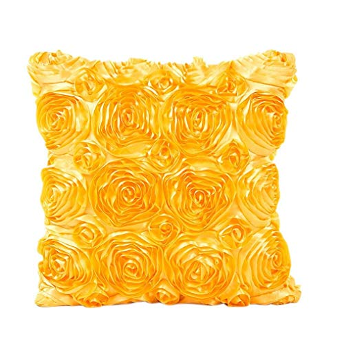 Usstore Decorative Pillowcases Rose Flower Waist Throw Pillow Cover Cafe Home Decoration for Living Sofas Beds Room (Yellow)