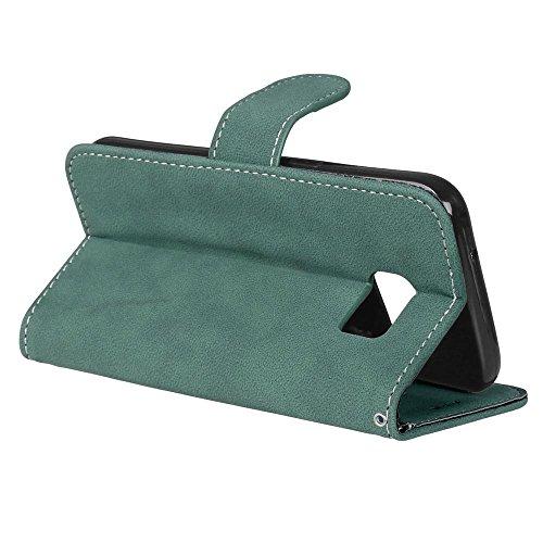 YHUISEN Estilo retro de color sólido Premium PU cuero Cartera de la caja Flip Folio cubierta protectora de la caja con ranura para tarjeta / soporte para Samsung Galaxy S7 ( Color : Blue ) Green