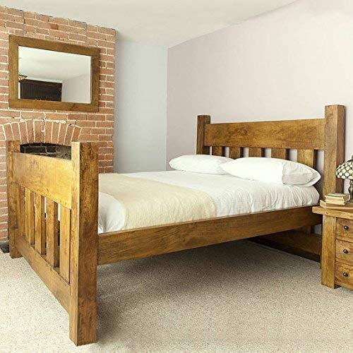 HANDMADE CHUNKY REDWOOD PANEL PINE WOOD SINGLE DOUBLE SUPER KING SIZE BED FRAME CAN BE CUSTOM MADE