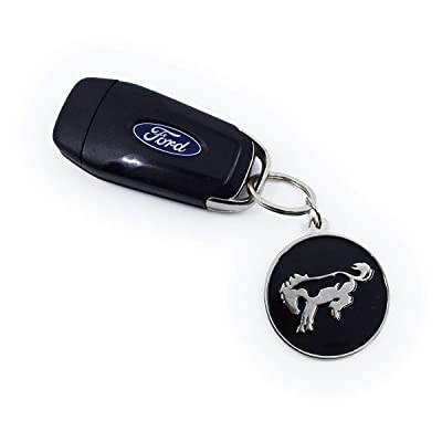 Ford Bronco Keychain, Zinc Die Cast Bronco Logo Key Ring, Round, Silver: Clothing