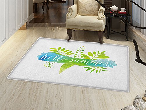 Hello Summer Door Mat Small Rug Verdant Foliage Detailed Images with Watercolor Blob and Handwritten Print Bath Mat 3D Digital Printing Mat Multicolor (Detailed Printing)