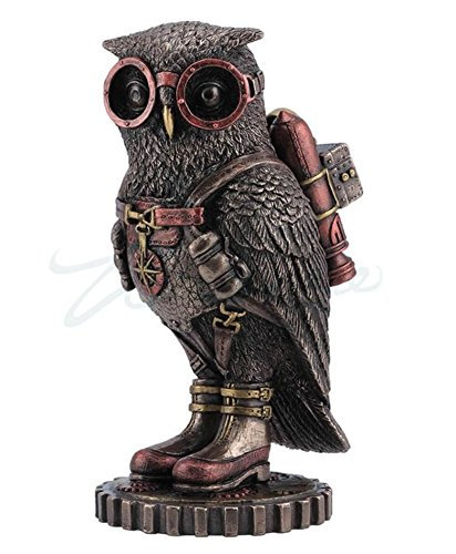 wu Steampunk Owl with Jetpack Statue Sculpture on Gears, used for sale  Delivered anywhere in USA