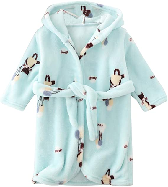 Happy Cherry Kids Flannel Bathrobes Cute Hooded Soft Sleepwear for Boys Girls