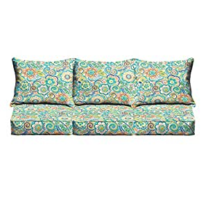 Mozaic Co. Blue Rio Floral Indoor/ Outdoor Corded Sofa Cushion Set