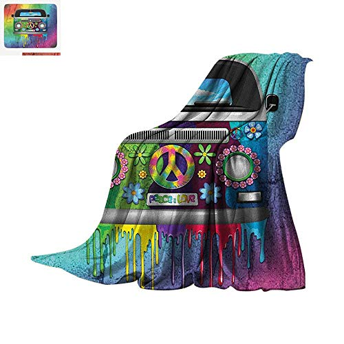 Groovy Throw Blanket Old Style Hippie Van with Dripping Rainbow Paint Mid 60s Youth Revolution Movement Theme Warm Microfiber All Season Blanket for Bed or Couch 90