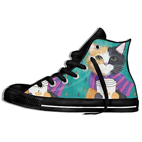 Classiche Sneakers Alte Scarpe Di Tela Antiscivolo Caffè Gatto Casual Da Passeggio Per Uomo Donna Nero