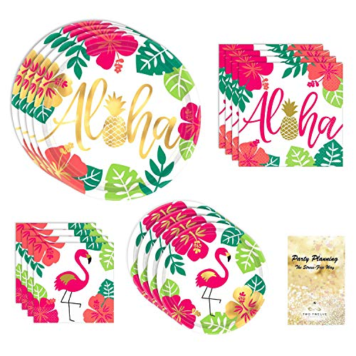 Luau Party Supplies, Gold Metallic, Flamingo Aloha Design, 16 Guests, Paper Bundle of 4 Items: Dinner Plates, Dessert Plates, Lunch Napkins and Beverage Napkins