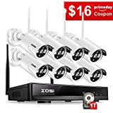 Electronics : ZOSI 8 Channel NVR 960P High Definition Wireless WiFi Smart HD IP Outdoor Indoor Home Video Security Camera System 100ft Night Vision Pre-Installed 1TB Hard Drive