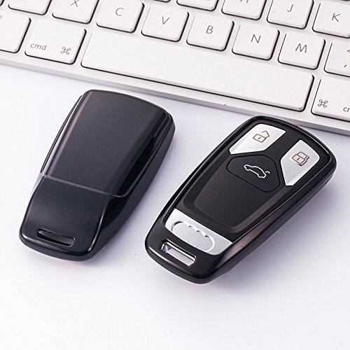 Atonix Tpu光沢クロームキーレスリモートKeyfob Caseカバーfor新しい2017-upアウディa4 a5 q7、2016-upアウディTT 3ボタン ブラック AT-TPU Keyless_New Audi_BLK B07BR943N5 ブラック ブラック