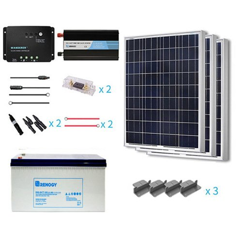 Renogy 300 Watt 12 Volt Complete Solar Panel kit Polycrystalline with Charge Controller +Mounts+ 200AH Gel Battery+ 1000W Pure Sinve Inverter