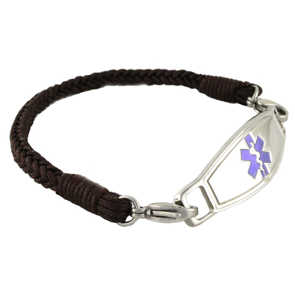 Braided Medical Alert ID Bracelet - Custom Engraving Included -Fun, Modern & Casual - Espresso