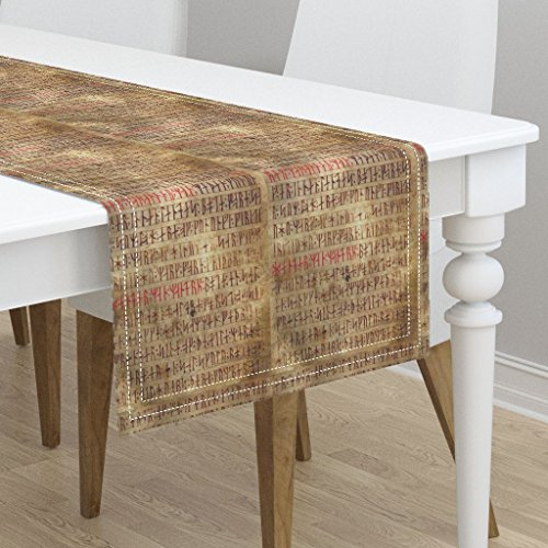Table Runner - Rune Rune Vellum Rune Manuscript Norse Runes Viking Lining Viking Runes Modern by Odinist - Cotton Sateen Table Runner 16 x 72