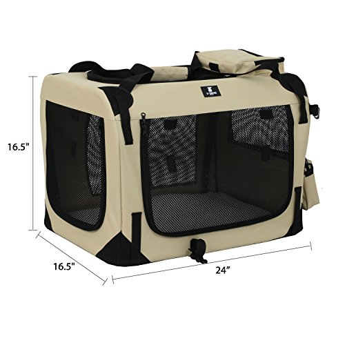 X-ZONE PET 3-Door Folding Soft Dog Crate, Indoor & Outdoor Pet Home, Multiple Sizes and Colors Available by X-ZONE PET (Image #2)