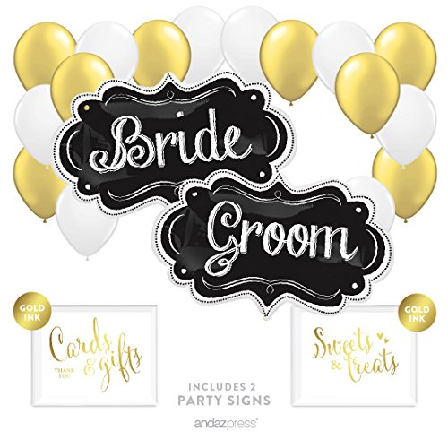 (Andaz Press Balloon Party Kit with Signs, Wedding Bridal Shower Engagement Party, Bride & Groom Marquee Signs with Gold and White Balloons, 20-Piece)