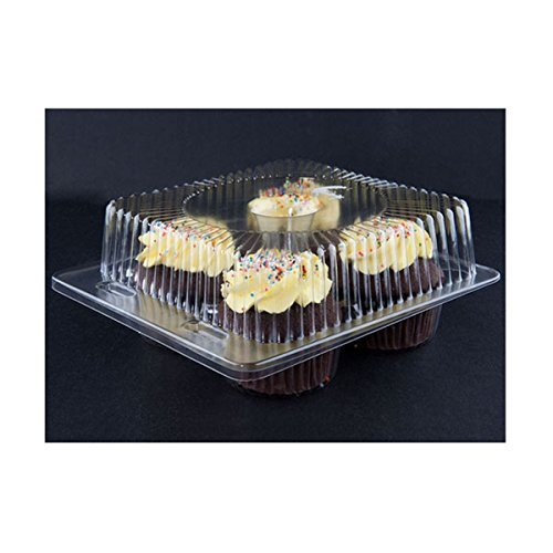 Detroit Forming LBH6404-4 Compartment Clear Hinged Cupcake/Muffin Container | 250 per case