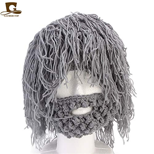 Wig Hobo Joggers Men Warm Funny Beanies Mask Caveman Scientist Halloween Fashion Crop