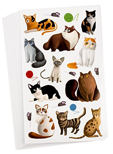 (Blue Panda 36-Sheets Small Cat Stickers - 684 Total Pieces for Kids, Scrapbooking, and Birthday Party Favors, 8.5 x 5)