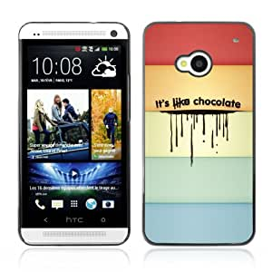CQ Tech Phone Accessory: Carcasa Trasera Rigida Aluminio Para HTC One - Funny Colorful Chocolate Message