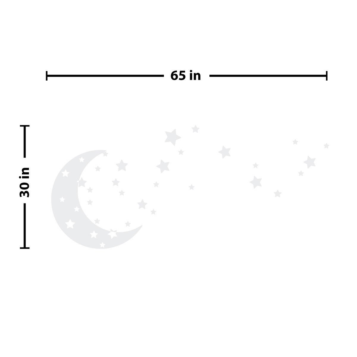 Moon and Stars Night Sky Vinyl Wall Art Decal Sticker Design for Nursery Room DIY Mural Decoration (White, 30x65 inches) by The Decal Guru