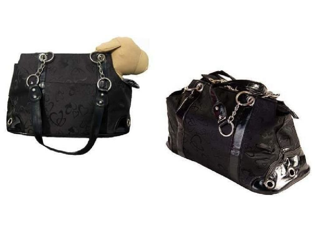 Luxury Dog Puppy Carrier Rococo Heart Pattern Black Dogs up to 8 lbs