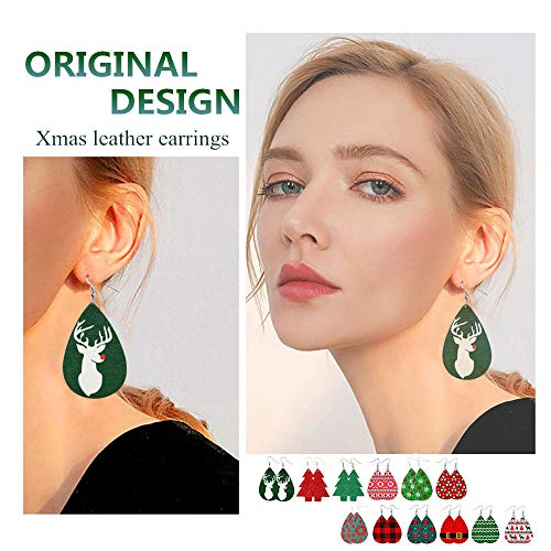 Christmas Earrings Kit Women Leather Teardrop Dangle Petal Drop Jewelry Halloween for Women Girls