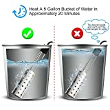 Immersion Heater, Kingwork UL-Listed Portable Water Heater with Thermostat and Auto Shutoff Function, Submersible Bucket Heater with Full 304 Stainless-Steel Guard, Heats 5 Gallons of Water in Minutes