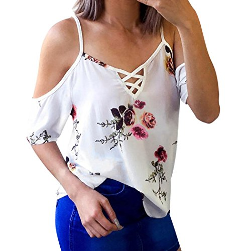 iMakCC Women's Cold Shoulder Floral Print Short Sleeve Top Casual Tees Shirt Blouse (XL, (Top 10 Adult Costumes)