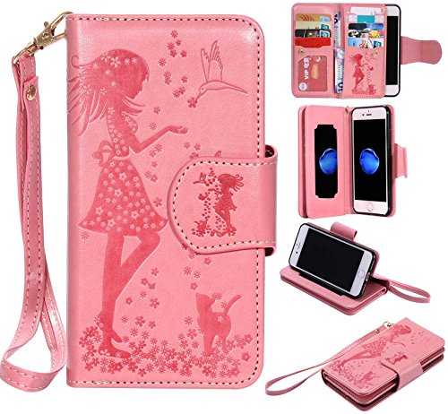 iPhone8 ケース UNEXTATI カード収納 手帳型 ウォレット型 スタンド機能 ケース ストラップ付き 落下防止 マグネット開閉式 財布型 カバー iPhone 8 ケース (P3 ピンク)