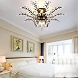 Injuicy Lighting American Country K9 Crystal Metal Branch E12Edison Led Ceiling Lights Lamps Fixtures Vintage Dining Living Rooms Bedrooms Foyer Hallway Chandeliers Decoration Gift (9 Head Black)