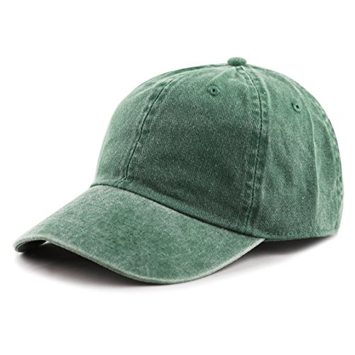 THE HAT DEPOT 100% Cotton Pigment Dyed Low Profile Six Panel Cap Hat (Green)