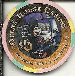 $5 opera house phantom of the opera 1996 las vegas casino chip super rare