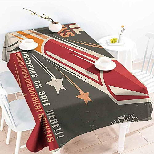 Homrkey Polyester Tablecloth Vintage Decor Collection Retro Fireworks in Vintage Paper with Stars Rockets Western Halloween Illustration Gray Red Table Decoration W70 xL84 -