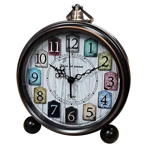 HJJK Vintage, Retro, Pasado de Moda Decorativo Tranquilo for no tictac del Barrido de Segunda Mano, del analogo de Cuarzo Grandes numeros Reloj del Escritorio, con Pilas, Fuerte Alarma (Classic)