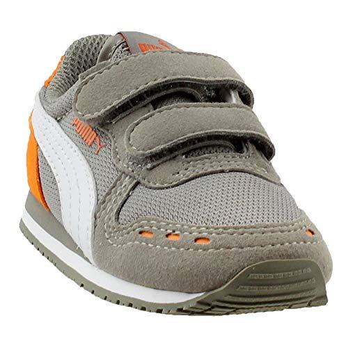PUMA Baby Cabana Racer Mesh AC Sneakers INF, Rock Ridge-White-Vibrant Orange, 9 M US Toddler (Puma Shoes Toddler)