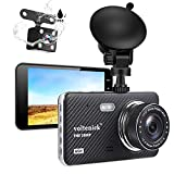 Dual Dash Cam Dashboard Camera 1080P Full HD Front and Rear for Car Recorder 4 Inch IPS Screen 170°Wide Angle,Super Night Vision,WDR,Motion Detection,Loop Recording,G-Sensor,Parking Monitoring