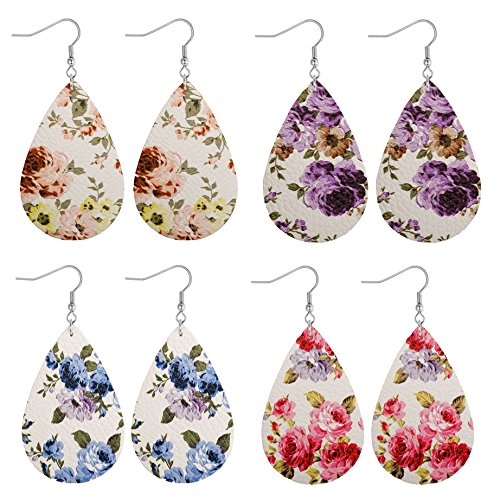 Double Teardrop Earrings - LOLIAS 4 Pairs Teardrop Leather Earrings Set for Women Girls Bohemia Leaf Dangle Drop Earring,H