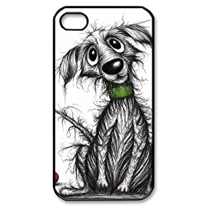 Custom Cover Case with Hard Shell Protection for Iphone 4,4S case with Cartoon dog lxa#969967
