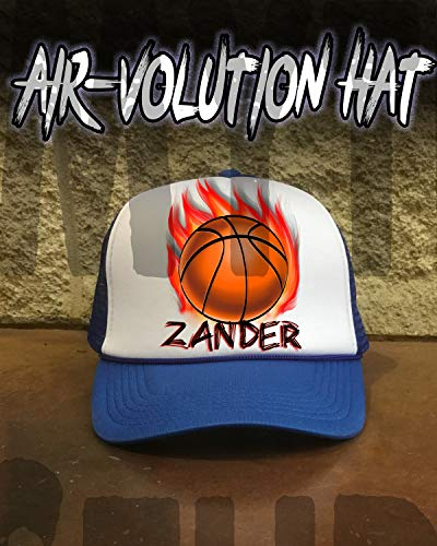 Personalized Airbrushed Basketball Snapback Trucker Hat